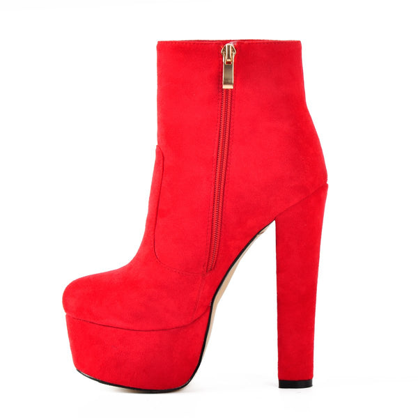 Black and Red Suede Platform Round Toe Chunky Heel Elastic Ankle Boots