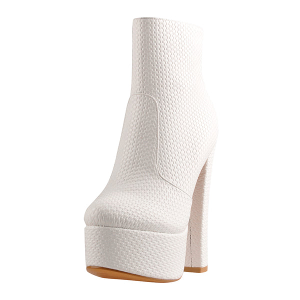 White Platform Heeled Concise Style Ankle Boots