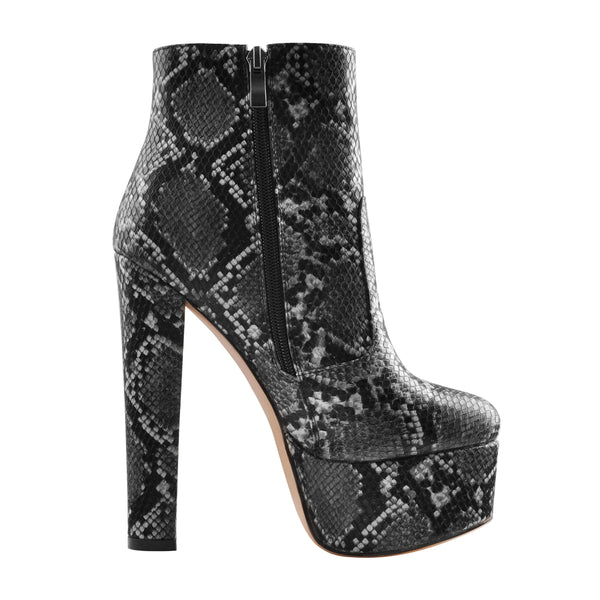 Snake Print Heeled Ankle Boots Platform High Heels Booties
