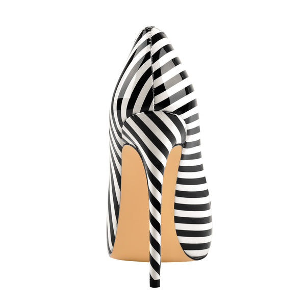 Black White Stripes Pointed Toe Slip On High Heel Pumps