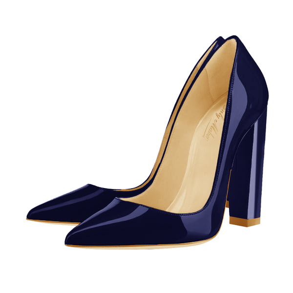 Dark Blue Basic Pumps Pointed Toe Chunky Heel