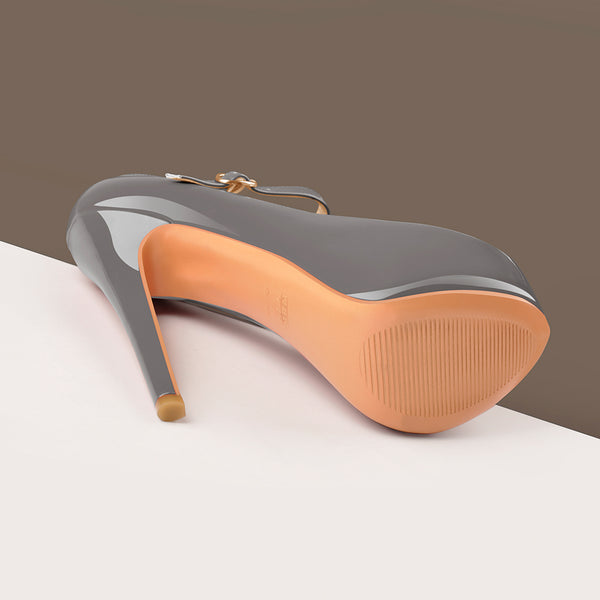Mary Jane Platform Gray Pointed Toe Stiletto High Heels Pumps