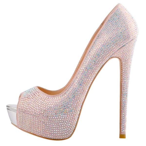 Light Pink Sequins Peep Toe Platform Stiletto High Heel Pumps