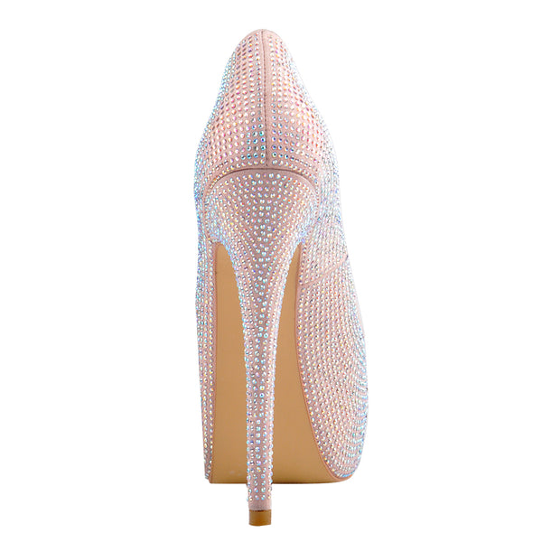 Light Pink Sequins Peep Toe Platform Stiletto High Heel Sandals