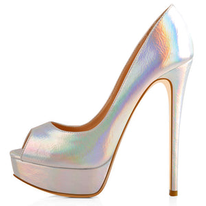 Silver Iridescent Peep Toe Stiletto Heel Platform Pumps