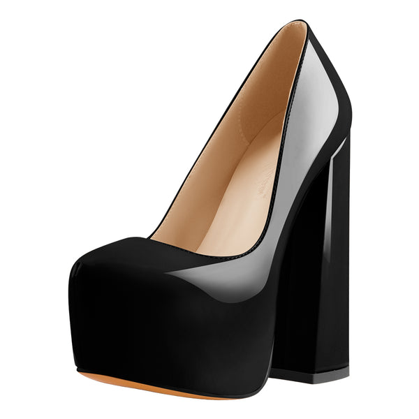 Platform Pointed Toe Chunky Square High Heels Pumps