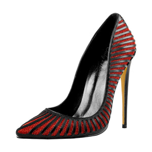 Black Red Silver Yellow Basic Pumps Pointed Toe Stilettos