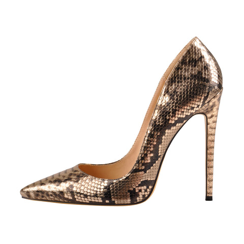 Gold Snake Pointed Toe Slip On Stiletto High Heel Pumps