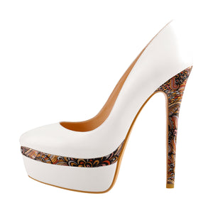 Black White Stiletto Pumps Double Platform Flower Print