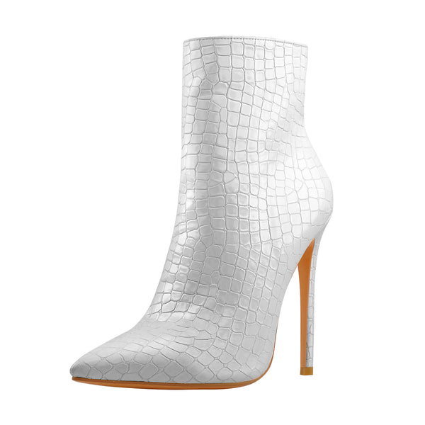 Silver Stone Pattern Pointed Toe High Heels Ankle Booties