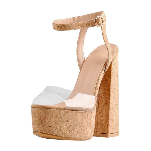 Platform Open Toe Wood Grain Ankle Strap Block Chunky Sandals
