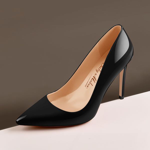 10cm Black Pointed Toe High Heels Slip On Stiletto Pumps