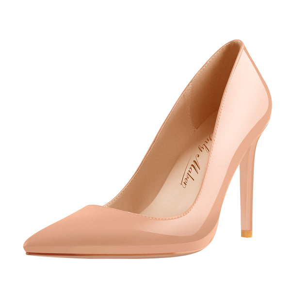 10cm Baby Pink Pointed Toe High Heels Slip On Stiletto Pumps