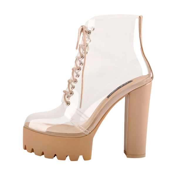 Lace Up Platform Chunky Heel Clear Sandal Boots