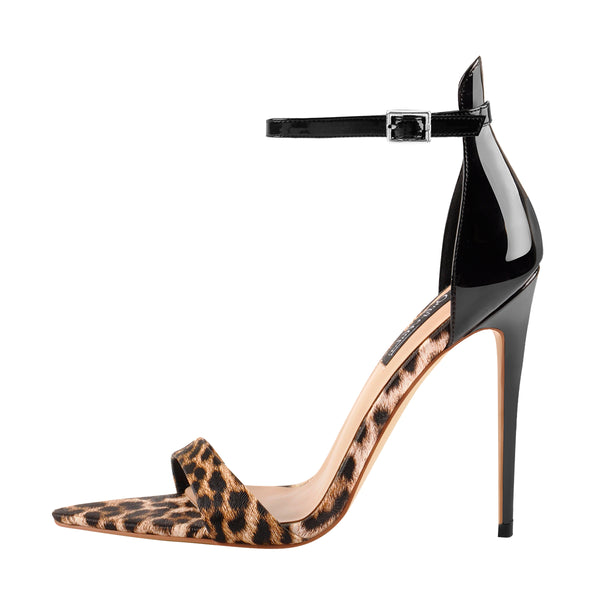 onlymaker Women's Pointy Open Toe Leopard Sandals