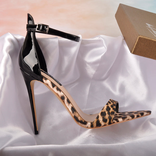 Pointy Open Toe Leopard Ankle Sandals