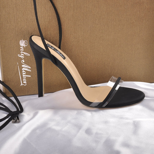 Lace up Clear Band Black Suede High Heels Sandals