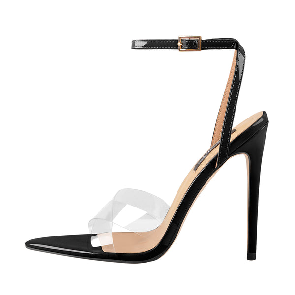 Clear Cross Band Pointy Open Toe High Heel Sandals