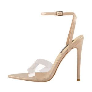 Clear Cross Band Pointy Open Toe Beige High Heel Sandals