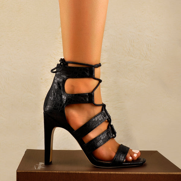 Lace Up Chunky Heel Cut Out Boots Sandals