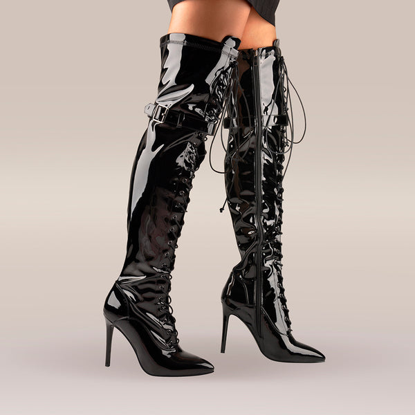 Patent Leather Lace up Over the Knee Motorcycle Boots