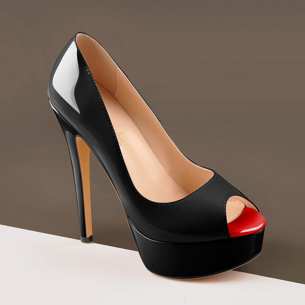 Peep Toe Platform Stiletto High Heel Pumps