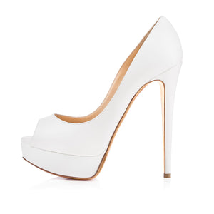 White Peep Toe Pumps Platform Stiletto High Heels Pumps