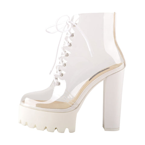 Lace Up Platform Chunky Heel White Clear Sandal Boots