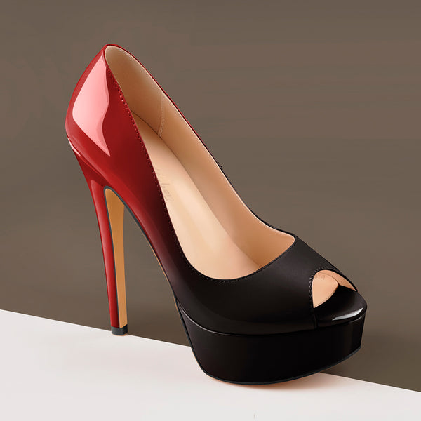 Red Black Peep Toe Platform Stiletto High Heel Pumps
