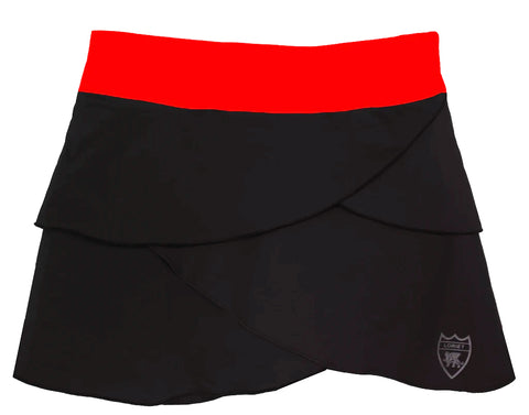 Ibiza Performance Skort - Black/Red - Loriet Activewear