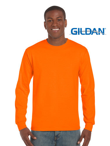 Gildan Ultra Cotton Adult Long Sleeve T Shirt Safety Orange