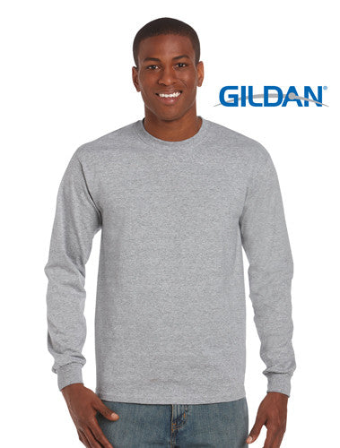 Gildan Ultra Cotton Adult Long Sleeve T Shirt Sport Grey