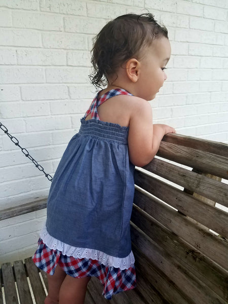 Chambray and eyelet picnic dress