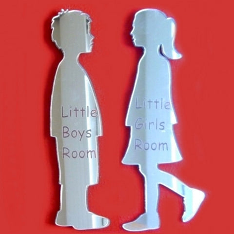 Engraved Little Boy & Little Girl Toilet Door Sign