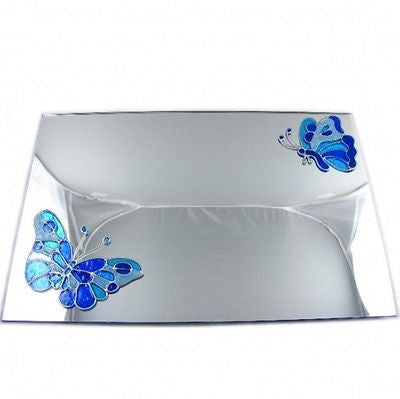 Stained Glass Effect Blue Butterflies Mirror