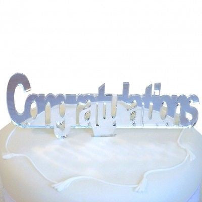 Congratulations Mirrored Cake Topper