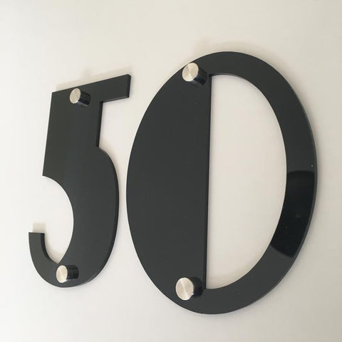 Black Gloss, Drilled Finish, House Numbers - Art Deco