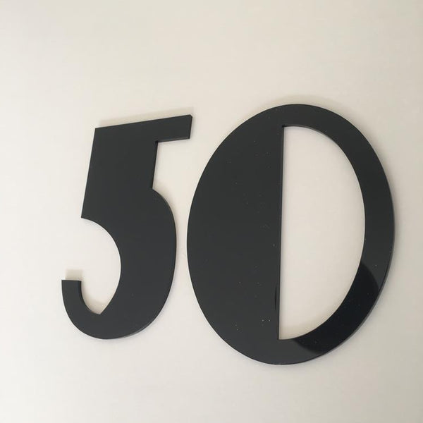 Black Gloss, Flat Finish, House Numbers - Art Deco