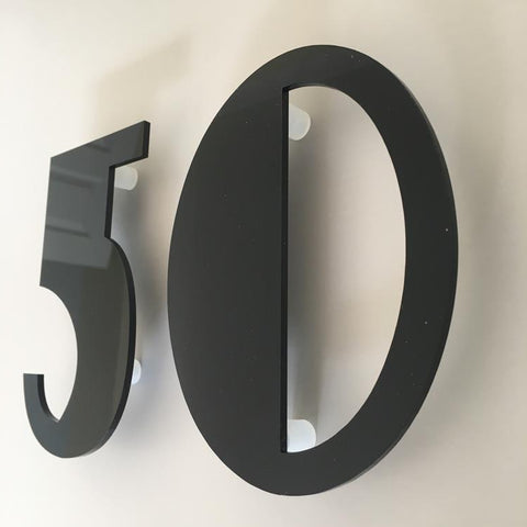 Black Gloss, Floating Finish, House Numbers - Art Deco