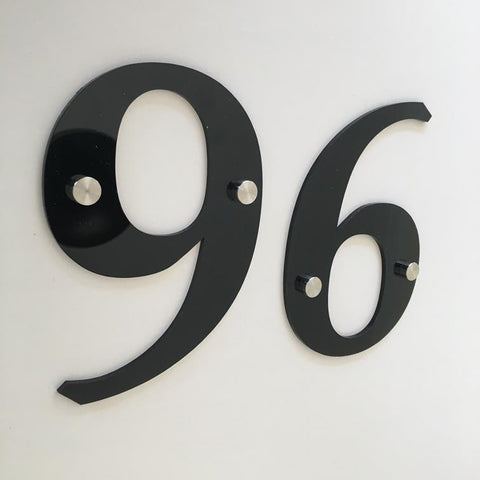 Black Gloss, Drilled Finish, House Numbers - Book