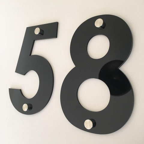 Black Gloss, Drilled Finish, House Numbers - Century Gothic