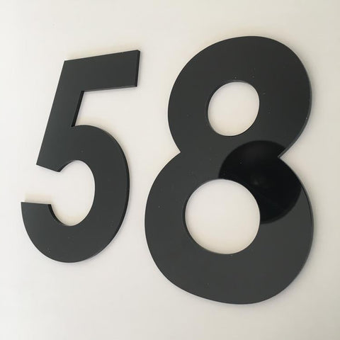 Black Gloss, Flat Finish, House Numbers - Century Gothic