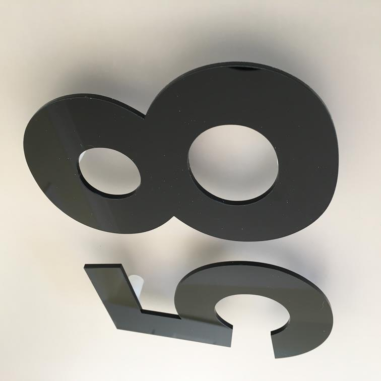Black Gloss, Floating Finish, House Numbers - Century Gothic