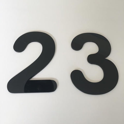 Black Gloss, Flat Finish, House Numbers - Rounded