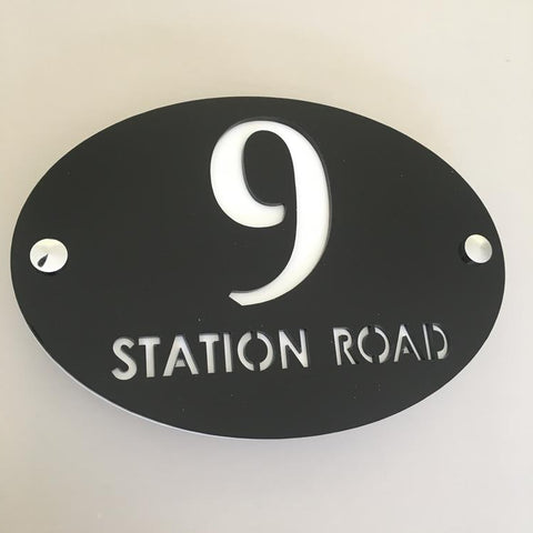 Oval House Number & Street Name Sign - Black & White Gloss Finish