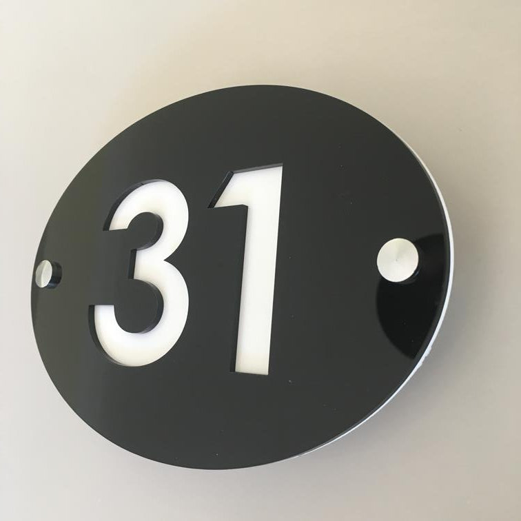Oval House Number Sign - Black & White Gloss Finish
