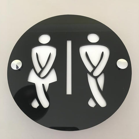 Round Cross Legged Male & Female Toilet Sign - Black & White Gloss Finish
