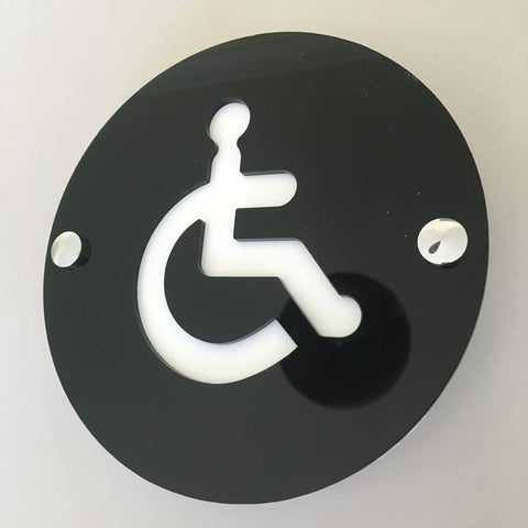 Round Disabled Toilet Sign - Black & White Gloss Finish