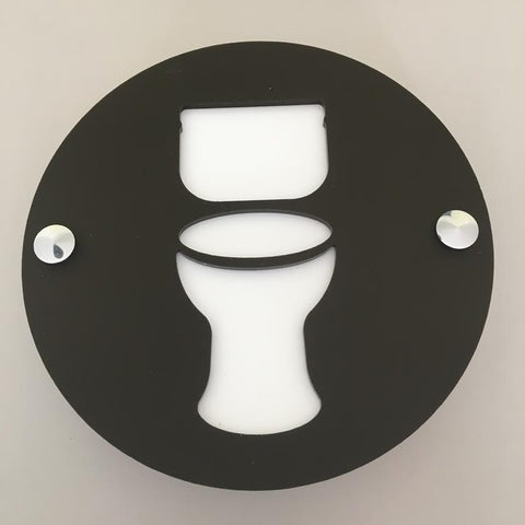 Round Toilet Sign - Black & White Gloss Finish