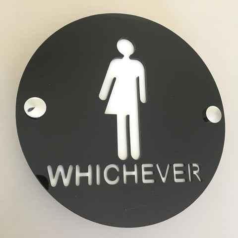 Round Whichever Toilet Sign - Black & White Gloss Finish